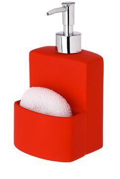 Distributeur de savon porte éponge, 9,5 x 9,5 x H 19 cm - Rouge 6 euros TATI