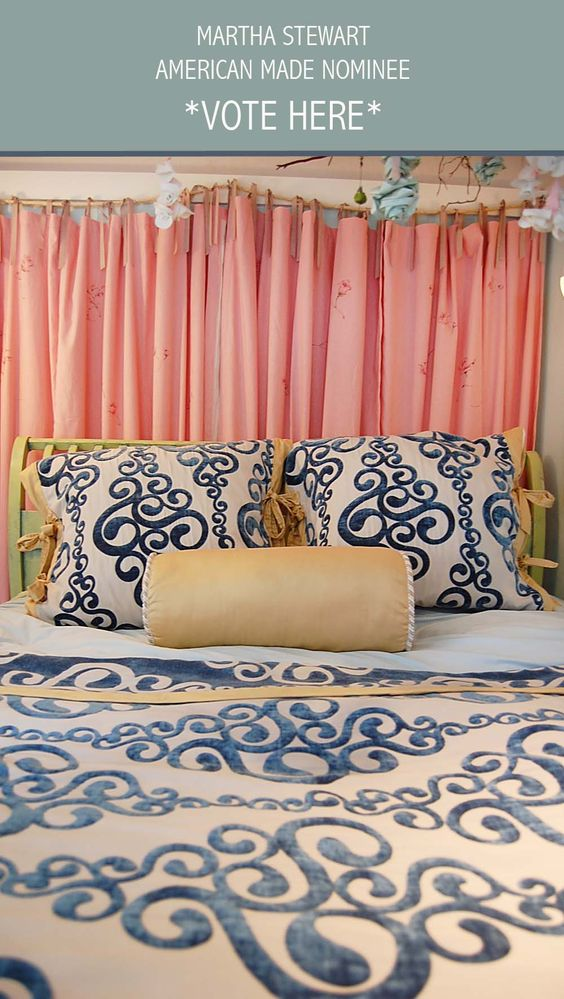 Custom Bedding & Hand Painted Linen Curtains for Girls Room: Juvenile Hall Design; creators of kids room design & decor.  Please support us with your vote! #juvenilehalldesign http://www.marthastewart.com/americanmade/nominee/80332?xsc=SOC_AM_NomFB