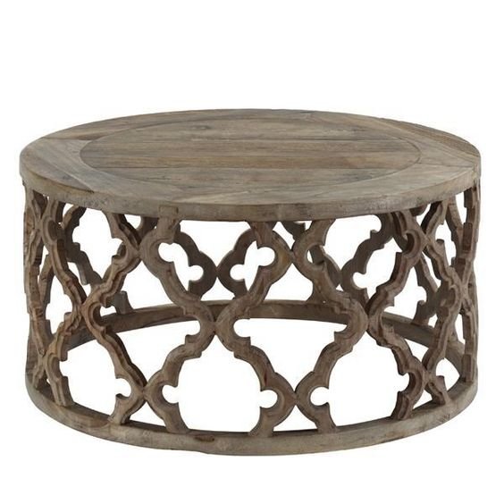 Moroccan Style Coffee Table In Reclaimed Elm Featuring Stunning Fretwork Pattern Home Decor