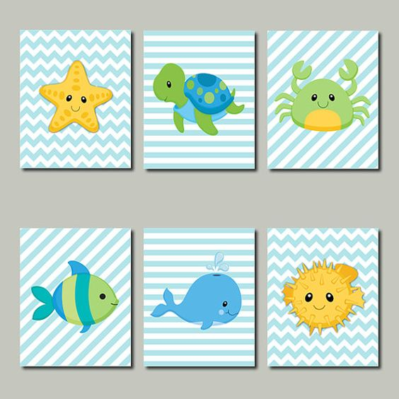 Sea Animals Chevron Stripes Blue Aqua Artwork Fish Starfish Blowfish Turtle Whale Crab Set of 6 Prints Bathroom Wall Art Decor Picture