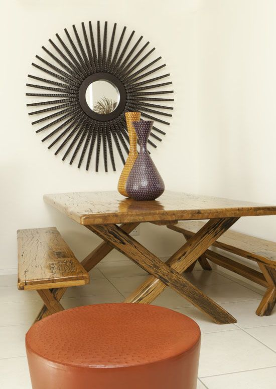 Yellow jarrah sleeper wood table with ostrich skin for African skin decoration