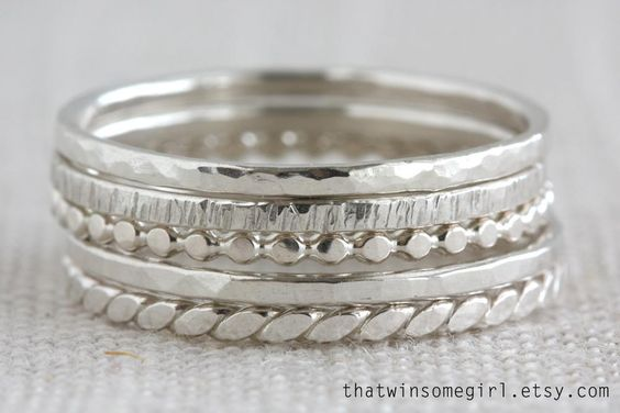 Sterling Silver Stack Rings - via @Craftsy