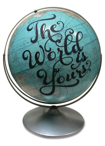 the world is yours' vintage globe