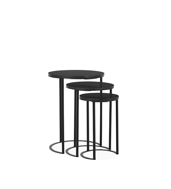 Swoon Editions side table, mid-century-style in iron and black granite - £229