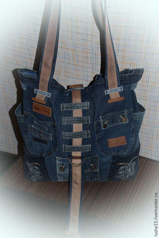 Купить Сумка-баул из джинсы - голубой, абстрактный, сумка ручной работы, сумка, сумка женская