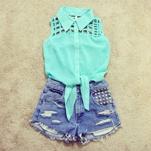 cute teen fashion: [summer, ripped shorts, front knot shirts ...