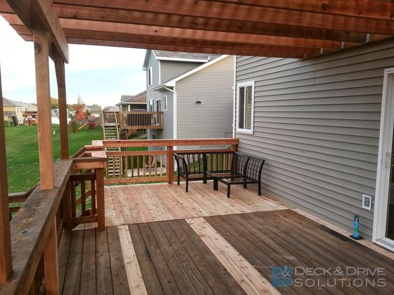 We added to his existing deck, then we built a new pergola over his existing  deck. Next year we will stain / seal the deck to match the new and old wood  ... - Deck Addition And New Pergola Deck And Drive Solutions Pergola