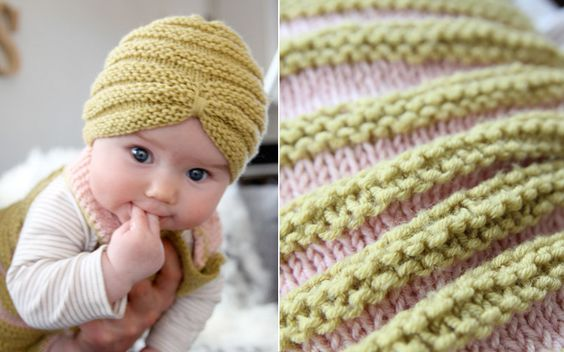 Knitting Pattern For Baby Turban : Very cute knitted turban-beanie! Wish I could knit, if it was needed... Nam...