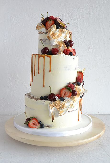 Rustic White Wedding Cake with Caramel and Fall Fruits | Brides.com