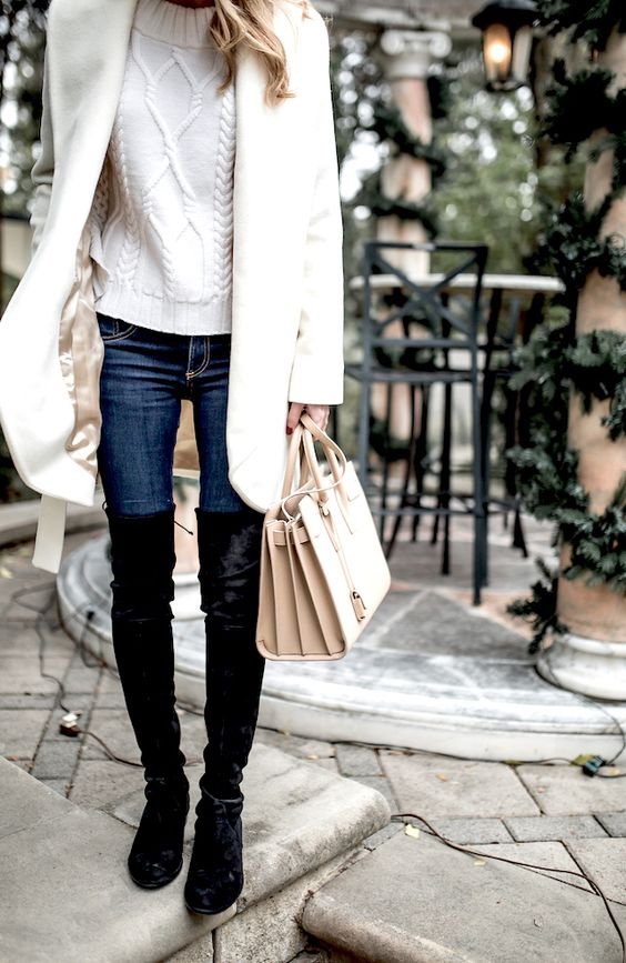 Cream cable knit sweater, coat, skinny jeans, Saint Laurent bag, and black suede over the knee boots: