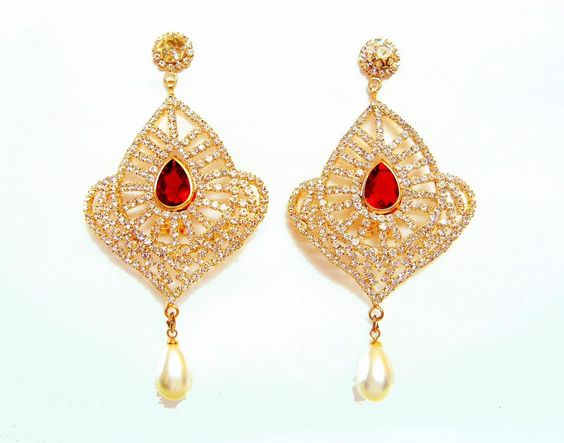 VK #Jewels Shining Diva Gold Plated Cubic Zirconia Alloy #JhumkiEarring -  http://offers2go.com/home/productinfo/1381 … #jewelleryfashion