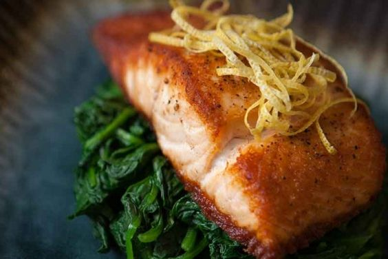 Nugget Markets Pan-Roasted Salmon with Spinach and Lemon Recipe