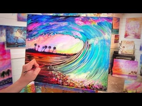 How To Paint A Wave Curl Acrylic Painting Step By Step Tutorial Youtube In 2020 Painting Acrylic Painting Step By Step Painting