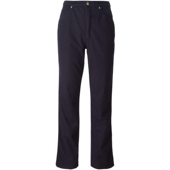 Dark blue stretch cotton      high waist jeans from Escada Vintage featuring a high waist, a waistband with belt loops, a button & zip fastening, side pockets,…