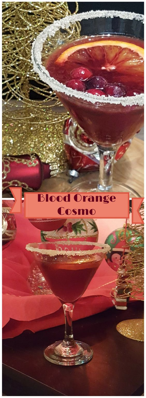 This blood orange cosmopolitan is a quick and easy festive cocktail that would be great as part of a holiday party or to enjoy sitting in front of the fire.