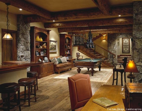 Man Cave Renovations : A warm and cozy man cave with pool table bar corner