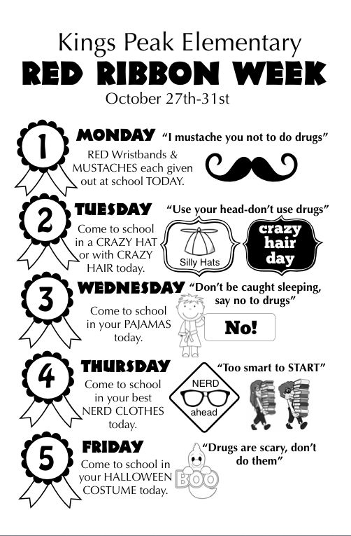 """At our school this next week we are celebrating Red Ribbon Week, which helps the kids realize the importance of saying """"NO"""" to drugs. This next week will be fun for the kids too because they will g..."""