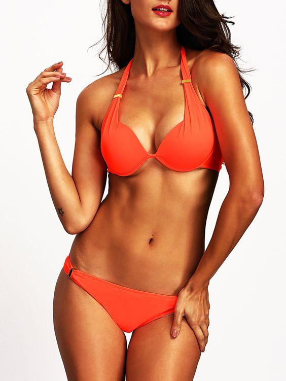 Orange+Halter+Push+Up+Bikini+Set+16.99