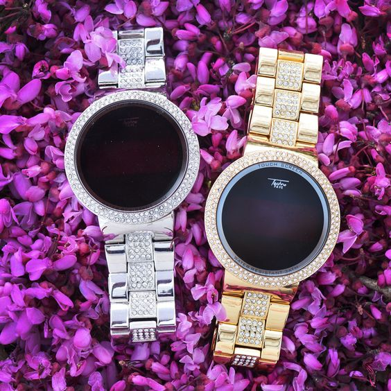 Techno Pave Touch Screen Iced Out Gold Tone Digital Watch