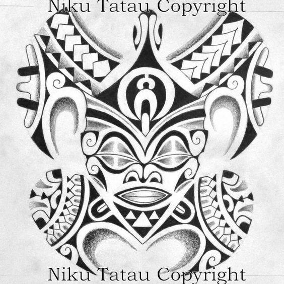 Dessin de Tatouage de Tortue Maori Polynésien avec Tete de Tiki Centrale - Maori Polynesian Turtle Tattoo Design with Tiki Head by Niku