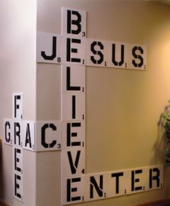 Hey friends! Want to give your youth room or office a fresh look? Create an attention-grabbing, Scrabble-themed wall decoration for your youth room - http://youthministry.com/diy-scrabble-wall/