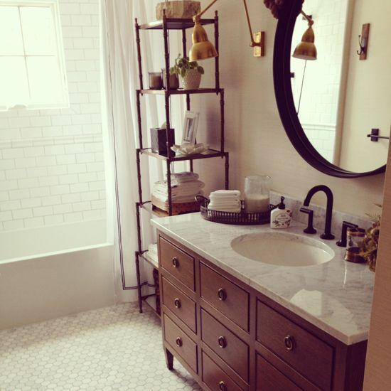 Design Manifest Malvern Bathroom- Sink Chest with round mirror, Etagere and Hexagon Floor