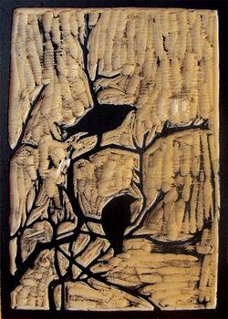 "Woodblock print ""Birds and Branches"" by Amanda Gordon Miller"