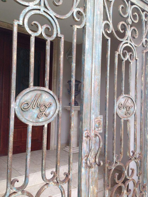 Puerta de hierro forjado simil oxidado jardin pinterest - Puertas de hierro para jardin ...