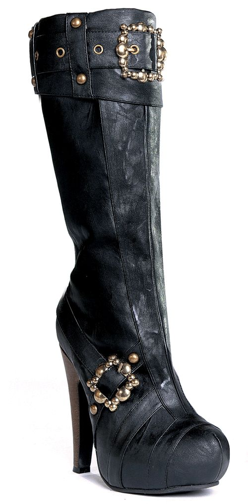 "426-AUBREY, 4"" Knee High Steampunk Boots With Buckles And Studs in Black"