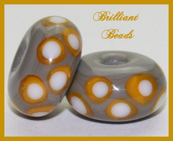 Saffron Yellow & Grey Spacer Bead PairHandmade by Gillianbeads, $4.50