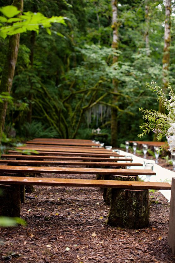 Rustic Wood Benches Wedding Ceremony Outdoor Benches