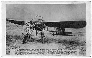 Harriet Quimby begins a training flight as André Houpert starts her Blériot XI monoplane at the Moisant School.