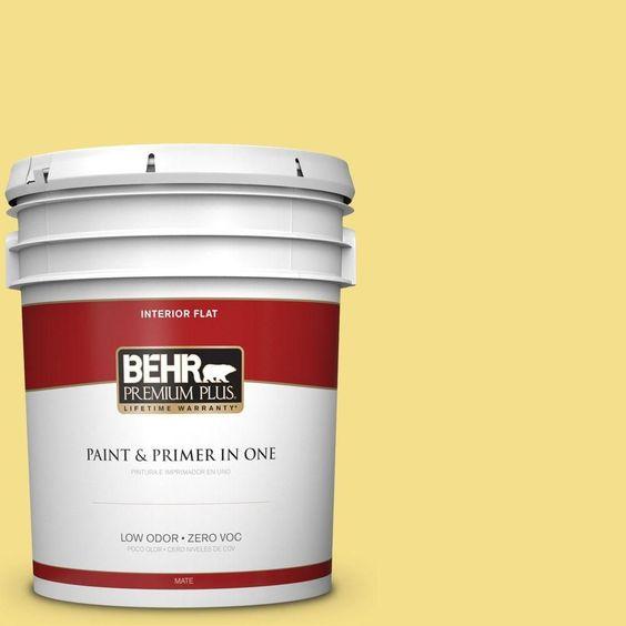 BEHR Premium Plus 5 gal. #hdc-SP16-03 Lemon Curd Zero VOC Flat Interior Paint