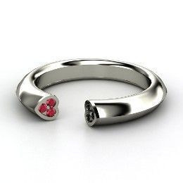 Two Hearts Ring, Platinum Ring with Ruby