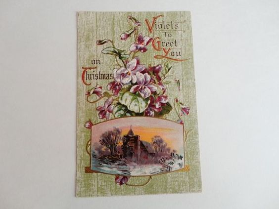 Violets To Greet You On Christmas Embossed Holiday Post Card
