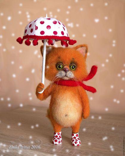 Игрушки животные, ручной работы. Ярмарка Мастеров - ручная работа. Купить Кот с зонтом. Handmade. Рыжий, зонт, глаза пластиковые