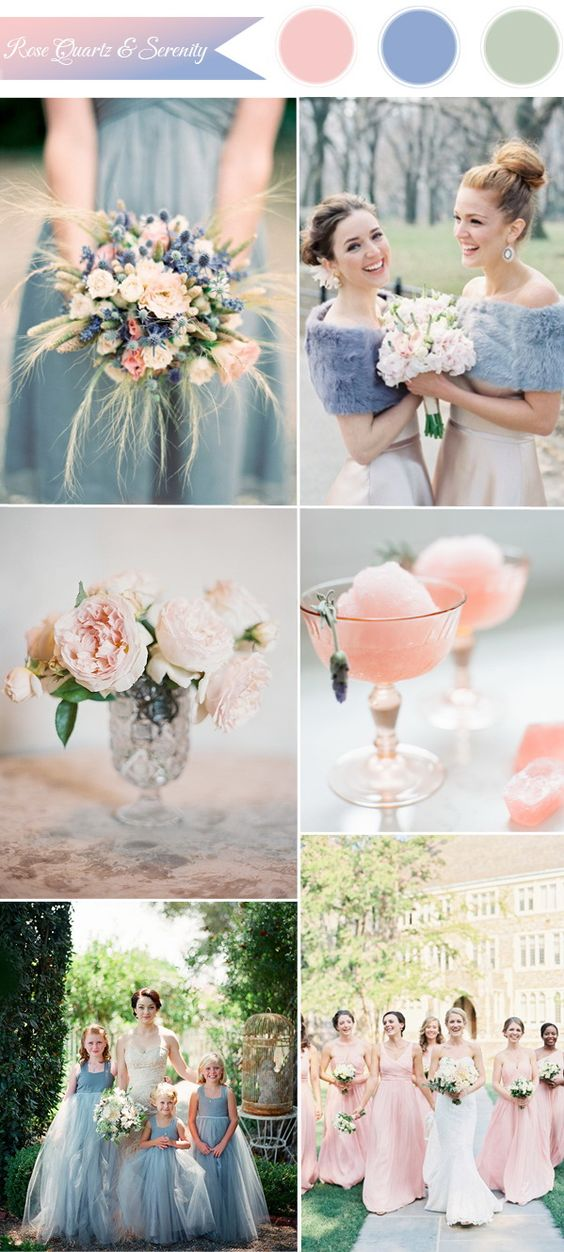 pantone rose quartz and serenity wedding color ideas 2016: