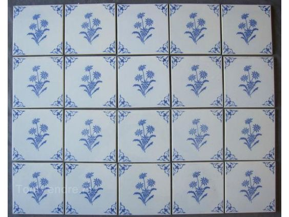 Lot de 20 carreaux faience desvres motif bleu carrelage for Carreaux faience