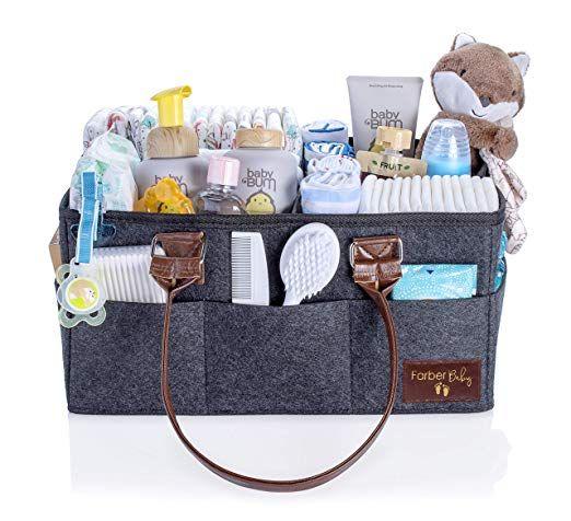 Baby Diaper Caddy Nursery Organizer Baby Shower Gift Basket For