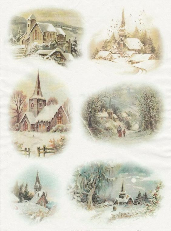 Rice Paper for Decoupage Decopatch Scrapbook Craft Sheet Vintage Winter Village: