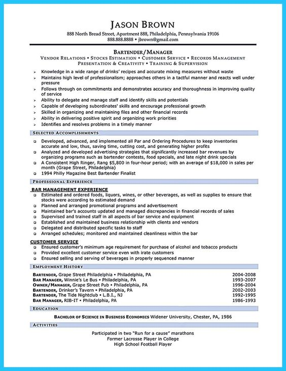 Call center resume for professional with relevant experience - bar manager sample resume