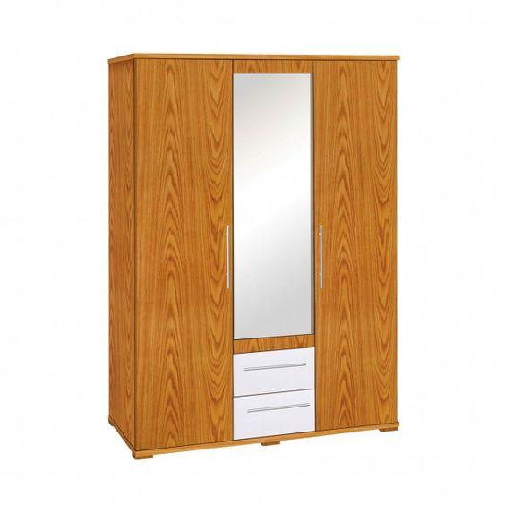 Hudson 3 Door Wardrobe  Oak Veneer  White High Gloss Detail  Bhatkhande  BedroomFurniture. Hudson 3 Door Wardrobe  Oak Veneer  White High Gloss Detail