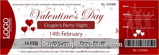 Valentine Party Event Ticket Template Microsoft Word In 2021 Valentines Day Card Templates Free Valentines Day Cards Party Invite Template