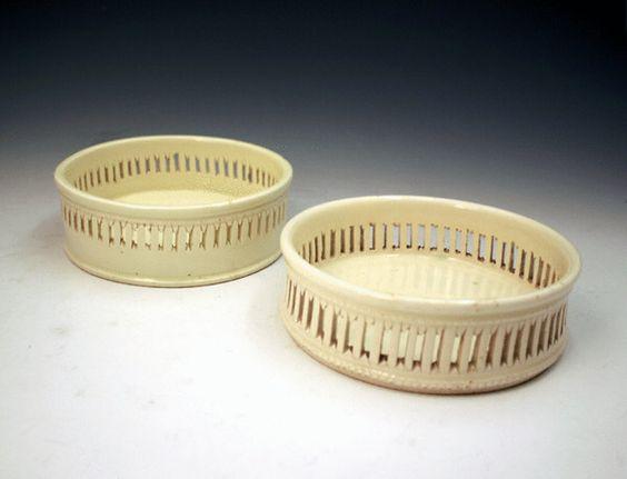 Creamware wine coasters