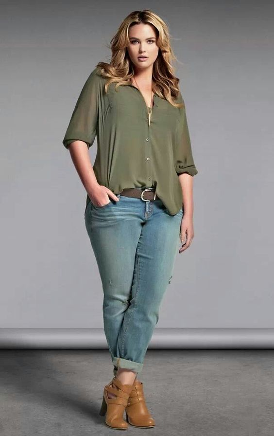 Plus Size outfit fashion torrid. Olive loose shirt tucked ...