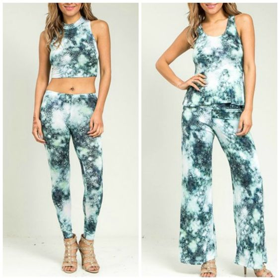 New!! 2014 Hot Celeb Mint Blue Tie Dye Crop Top Peplum Pants Tee Set