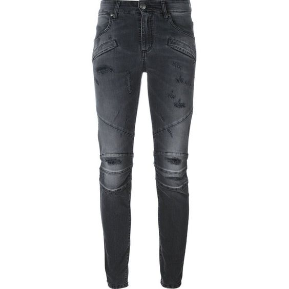 Pierre Balmain Embroidered Denim Jeans ($400) ❤ liked on Polyvore ...