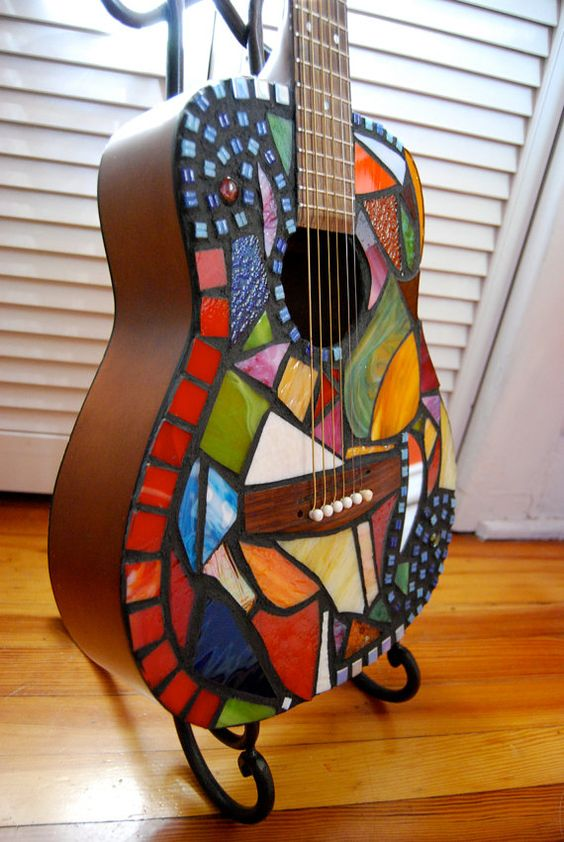 """Stained glass mosaic guitar- """"Whirlwind"""""""