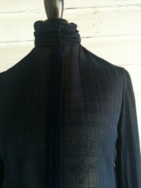 Vintage 1980s Sheer Navy Blue Shirt by runaroundsuevintage, $24.00