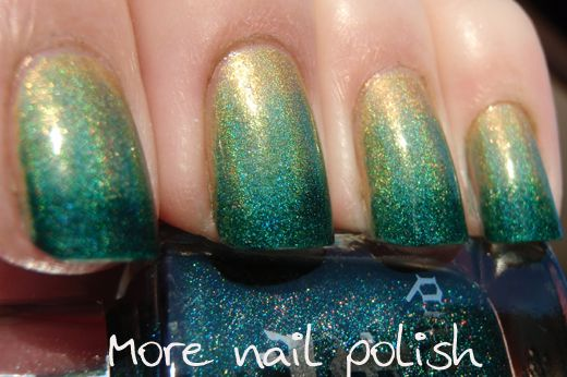 More Nail Polish: Holo green gradient